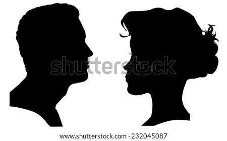 Vector silhouette of a couple on a white background. - stock vector