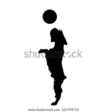Vector silhouette of a dog playing with a balloon. - stock vector