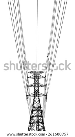 Vector silhouette of a electricity power pylon tower and cable.  - stock vector
