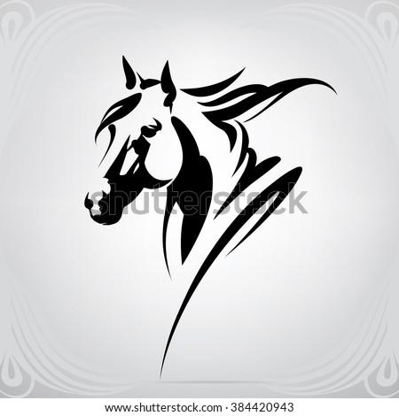 Vector silhouette of a horse's head - stock vector