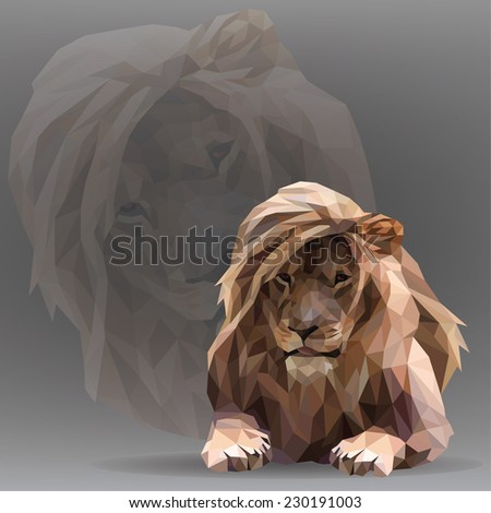 Vector silhouette of a lion in the geometric style - stock vector