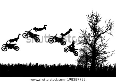 Vector silhouette of a man on a motorcycle as he rides in the countryside. - stock vector
