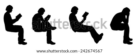 Vector silhouette of a man sitting on a white background. - stock vector