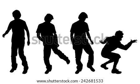Vector silhouette of a man who dances on a white background. - stock vector