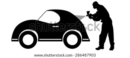 Vector silhouette of a painter who squirts car. - stock vector
