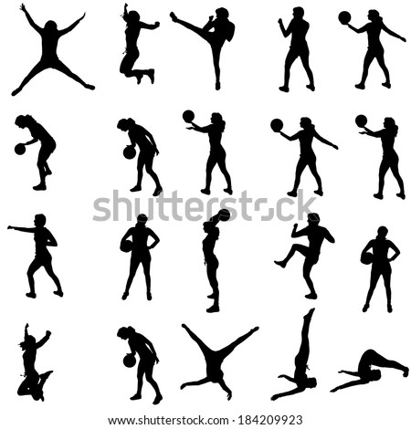 Vector silhouette of a people who practices on white background.  - stock vector