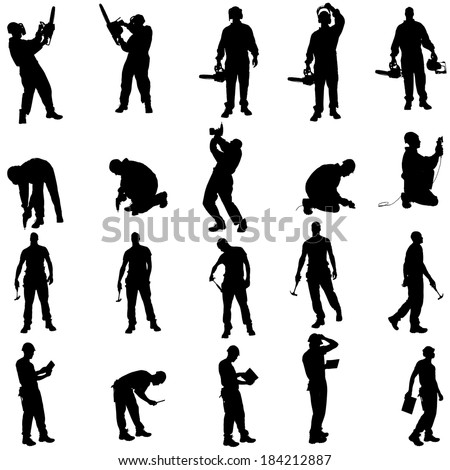 Vector silhouette of a people working with tools on a white background. - stock vector