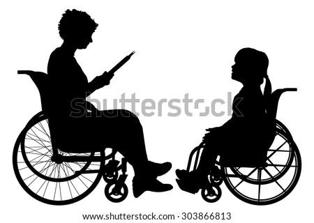 Vector silhouette of a woman in a wheelchair. - stock vector