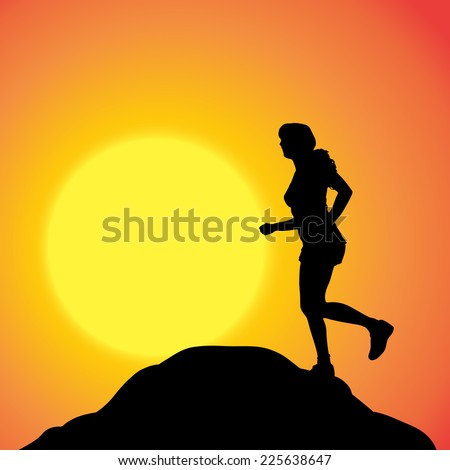 Vector silhouette of a woman in nature at sunset. - stock vector