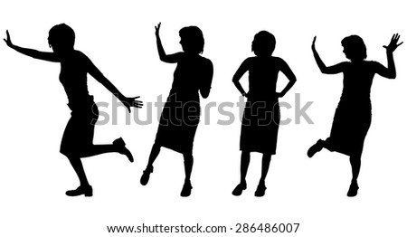 Vector silhouette of a woman who dances. - stock vector