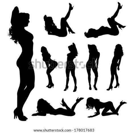 Vector silhouette of a woman who dances on a white background.  - stock vector