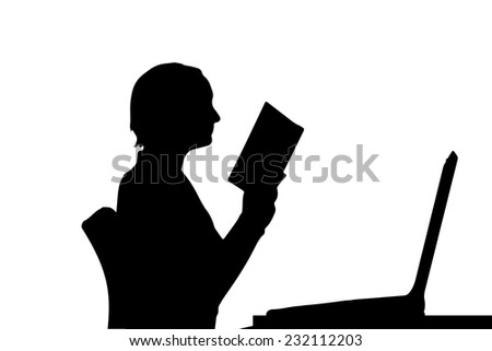 Vector silhouette of a woman who is sitting at the computer. - stock vector