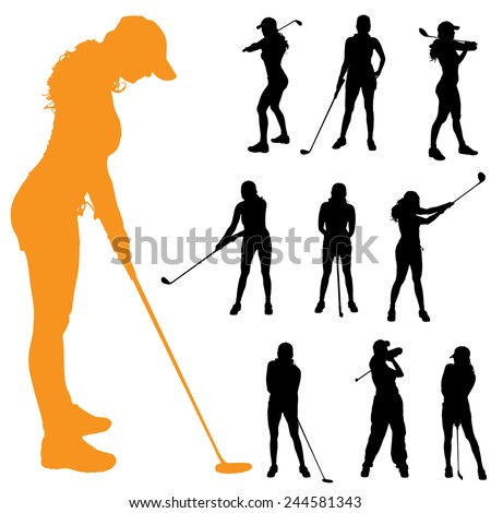 Vector silhouette of a woman who plays golf. - stock vector