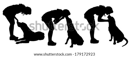 Vector silhouette of a woman with a dog on a white background.  - stock vector
