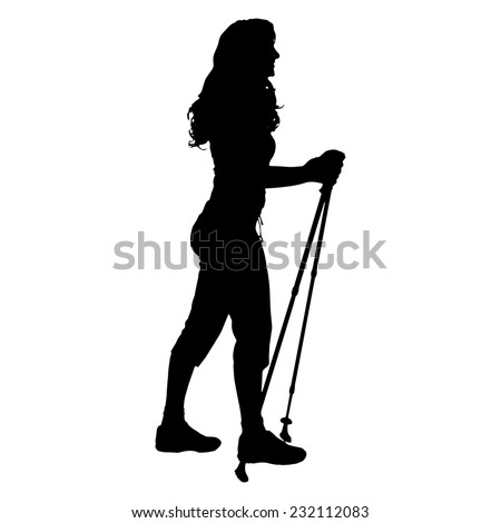 Vector silhouette of a woman with chopsticks Nordic walking on white background. - stock vector