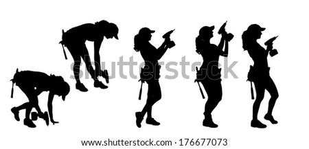 Vector silhouette of a woman with tools on a white background. - stock vector