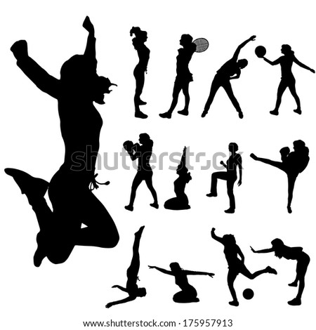 Vector silhouette of a woman with various sporting activities. - stock vector