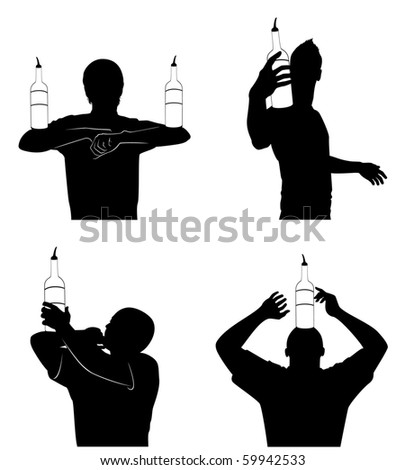 Vector silhouette of barmans showing tricks with a bottle - stock vector