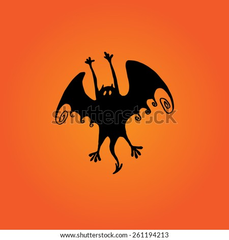 Vector silhouette of bat, flight of a bat in eps - stock vector