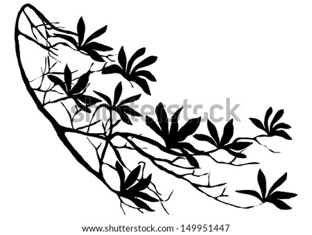 Vector Silhouette of Branch of Rhododendron - stock vector