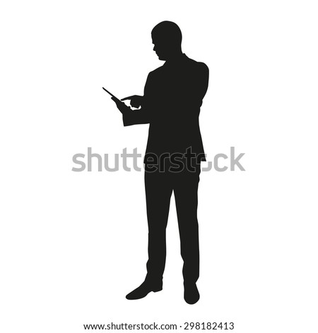 Vector silhouette of business man with tablet - stock vector