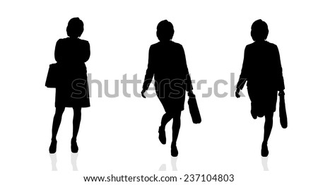 Vector silhouette of businesswoman on white background. - stock vector