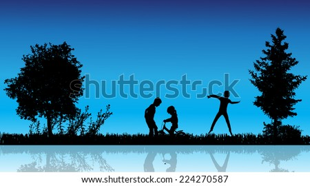 Vector silhouette of children in the countryside near a pond. - stock vector