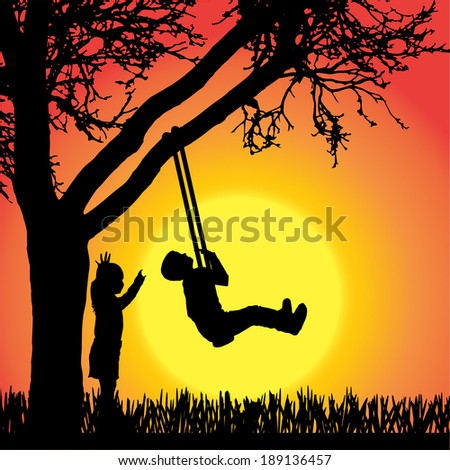 Vector silhouette of children on a orange background. - stock vector