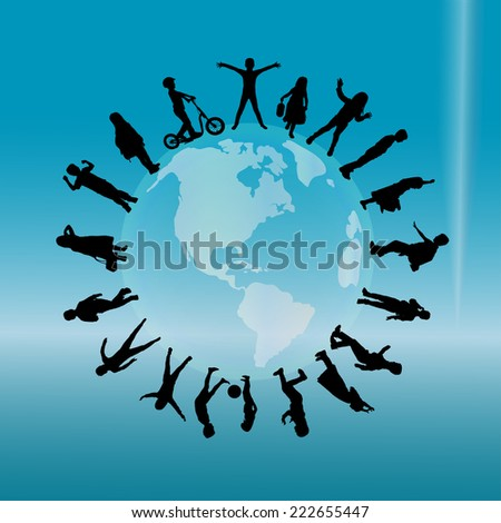 Vector silhouette of children on the planet. - stock vector