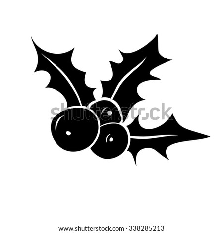Vector silhouette of Christmas holly berry. Christmas symbol. - stock vector
