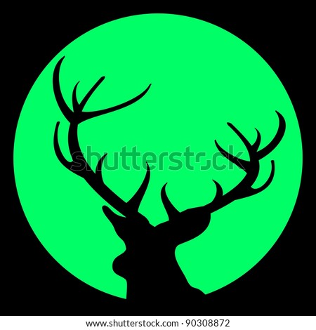 Vector silhouette of deer with antlers against moon on black sky - vector illustration. Avatar. - stock vector
