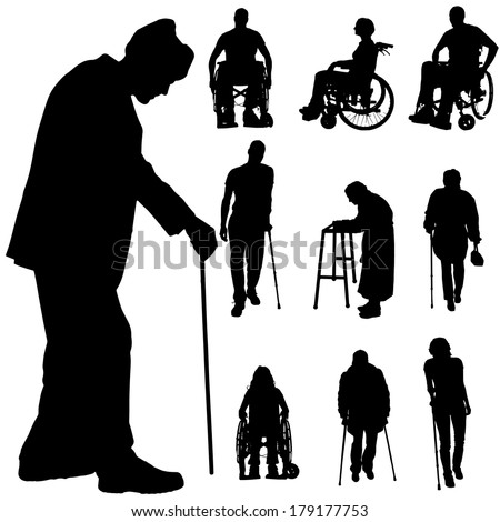 Vector silhouette of disabled people on a white background.  - stock vector
