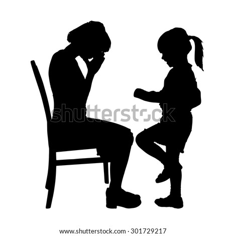 Vector silhouette of family on a white background. - stock vector