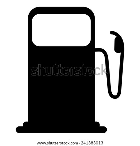 Vector silhouette of gas pump, isolated on white background - stock vector