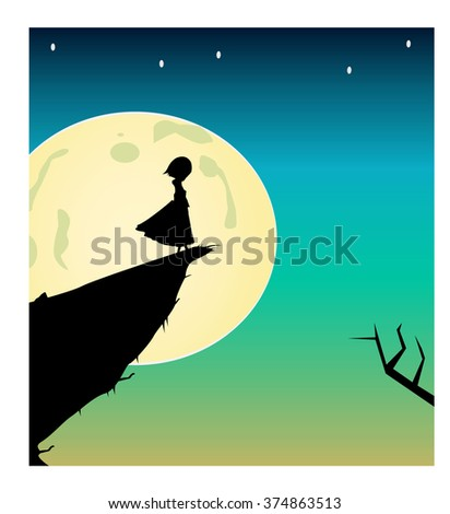 Vector silhouette of girl in front of a moon/ Fully editabe Eps 10 - stock vector