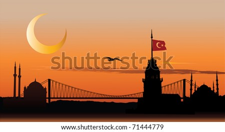 Vector silhouette of Istanbul cityscape against sunset sky - stock vector