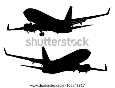 vector silhouette of landing passenger airplane with and without chassis - stock vector
