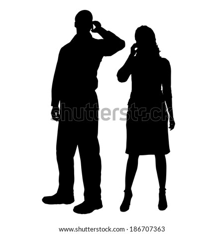 Vector silhouette of people on a white background. - stock vector