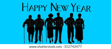 Vector silhouette of people who celebrate the new year. - stock vector