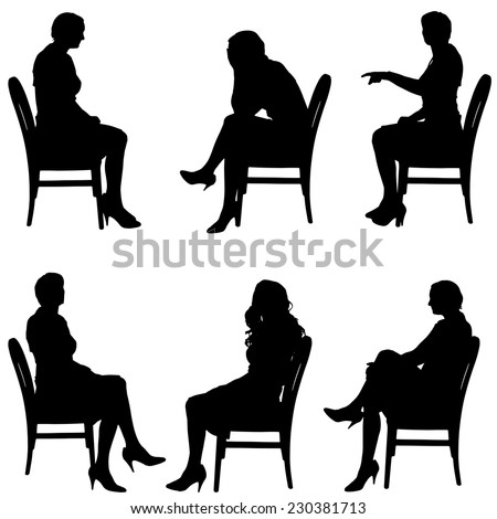 Vector silhouette of people who sit in the chair. - stock vector