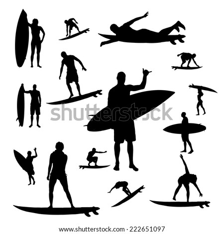 Vector silhouette of people who surf on a white background. - stock vector