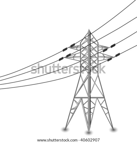 Vector silhouette of power lines and electric pylon - stock vector