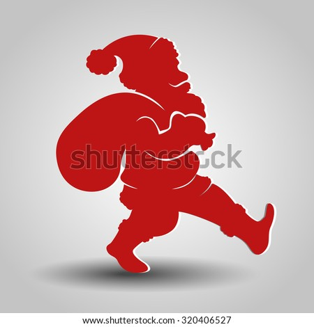 Vector silhouette of Santa Claus - stock vector