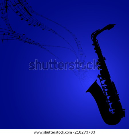 Vector Silhouette of Saxophone with Musical Symbols - stock vector