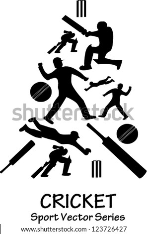 Vector silhouette of several cricket actions - stock vector