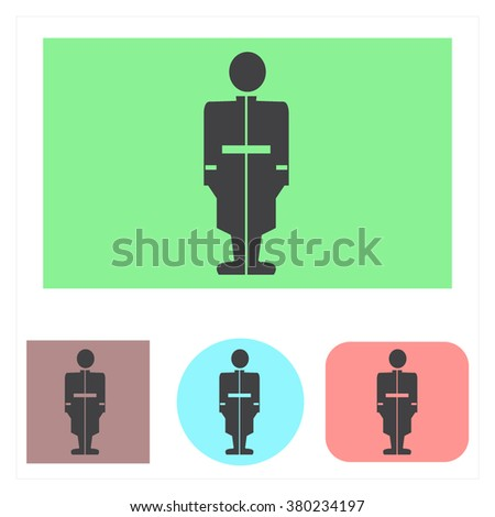 Vector silhouette of soldiers in many colors - stock vector