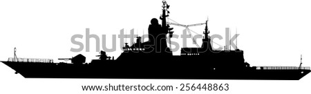 Vector silhouette of the military ship - stock vector
