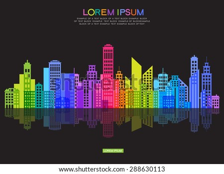 Vector silhouette of the modern city. Abstract city template. - stock vector