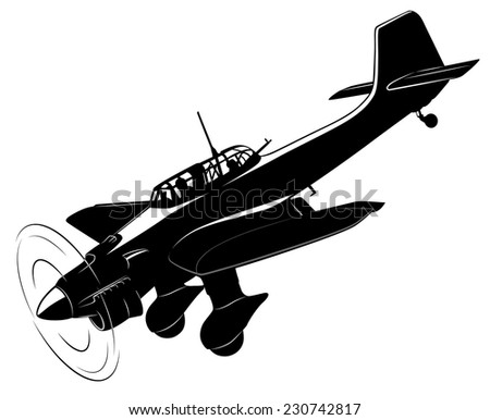 Vector silhouette of the old fighter plane - stock vector