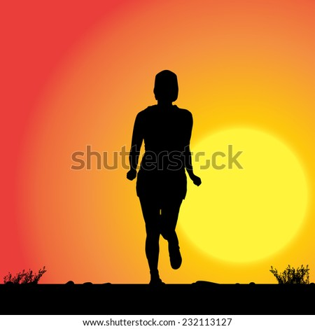 Vector silhouette of the woman who runs in sunset. - stock vector
